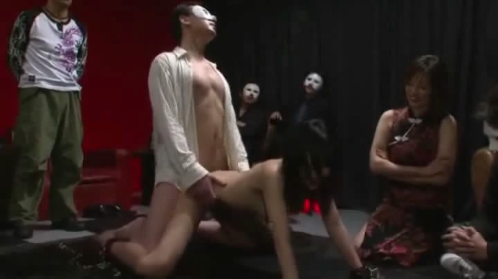 Horny dude in white mask fucks nude asian porn gal after hot group sex